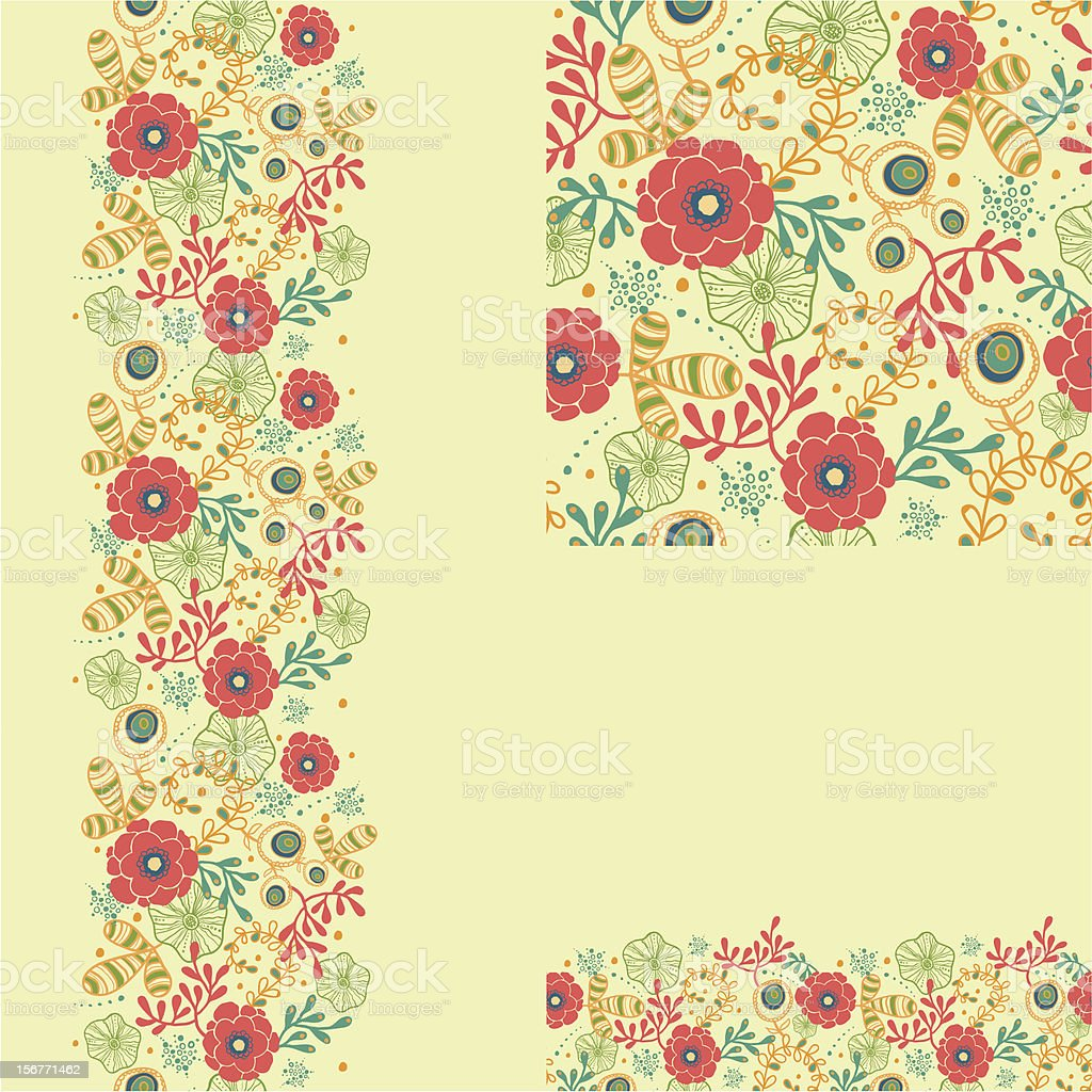Bright red flowers in the garden seamless pattern set royalty-free stock vector art