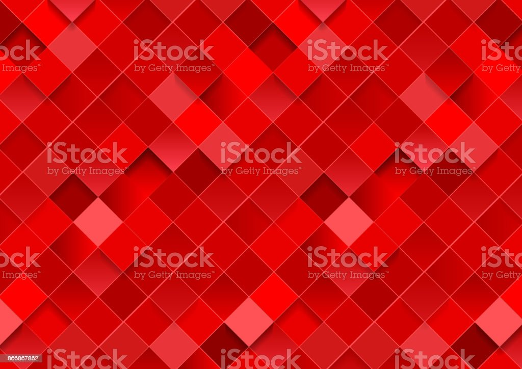 Bright red geometric squares mosaic abstract background vector art illustration