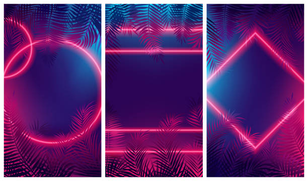 Bright red glow from geometric shapes, neon cyberpunk background with tropical leaves Bright red glow from geometric shapes, neon cyberpunk background with tropical leaves, Vector poster for your design banana borders stock illustrations