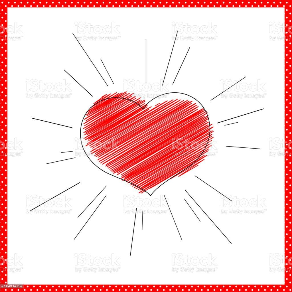 Leuchtendes Rotes Herz Mit Strahlen Linien Symbol Für Liebe Und Ehe ...