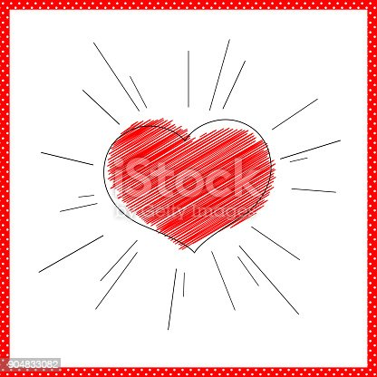Bright Red Heart With Rays Lines Symbol Of Love And Marriage For