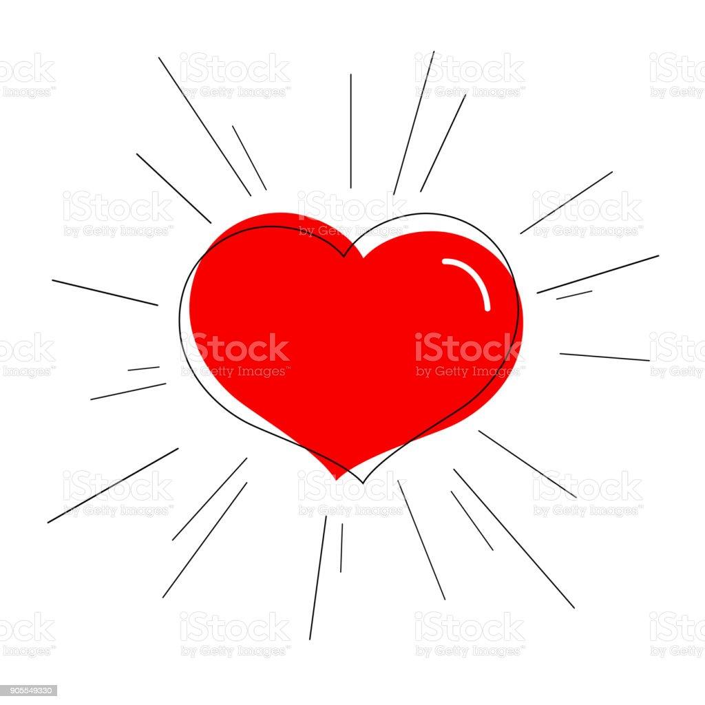949d20f211e1d3 Vetores de Coração Vermelho Brilhante Com Raios Linhas Símbolo De ...