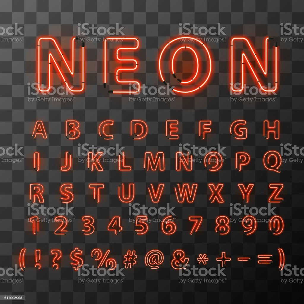 Bright red neon letters vector art illustration