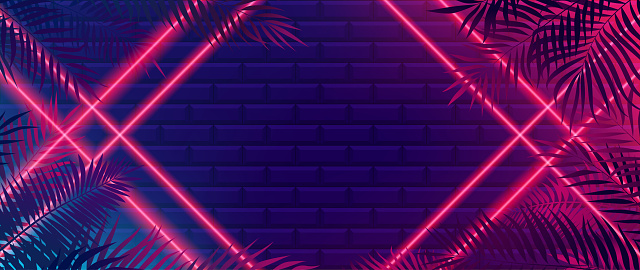Bright red neon rays intersect to form a frame, futuristic background with tiles and tropical lines, widescreen vector illustration 21-9