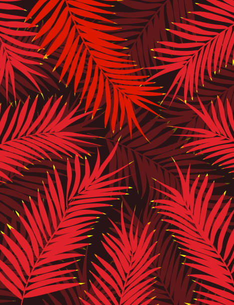 Bright Red Palm Leaves in Dark Jungle Background for Flyer or Poster Template vector art illustration
