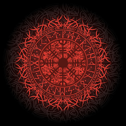 Bright red scandinavian circle background