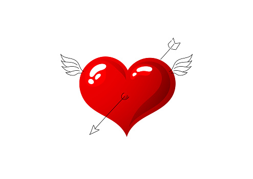 Bright red shiny love heart. Cupid's wings and arrow. Valentine's day symbol. Cute valentine. Characters are created in a linear style with a black line. Combined with brightly colored elements