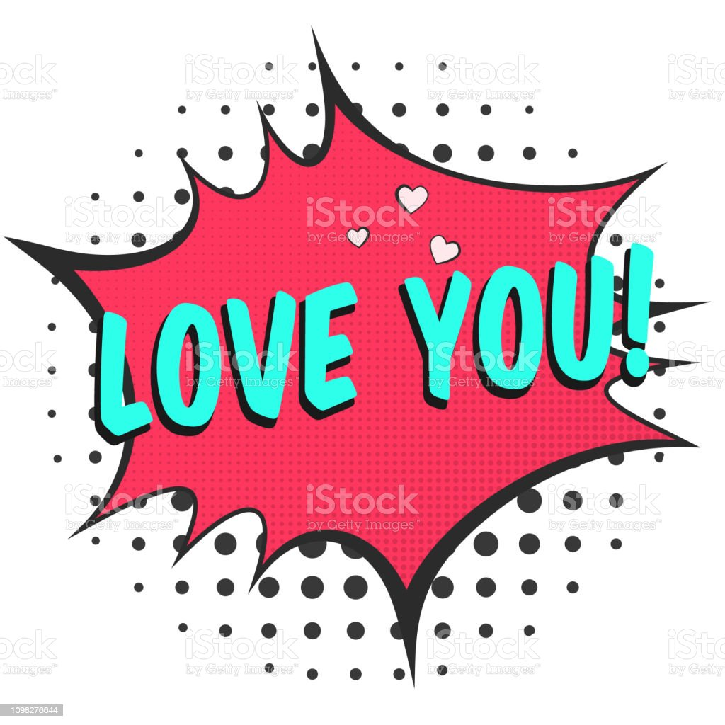 Bright Red Speech Bubble With Love You Text Stock Illustration - Download  Image Now