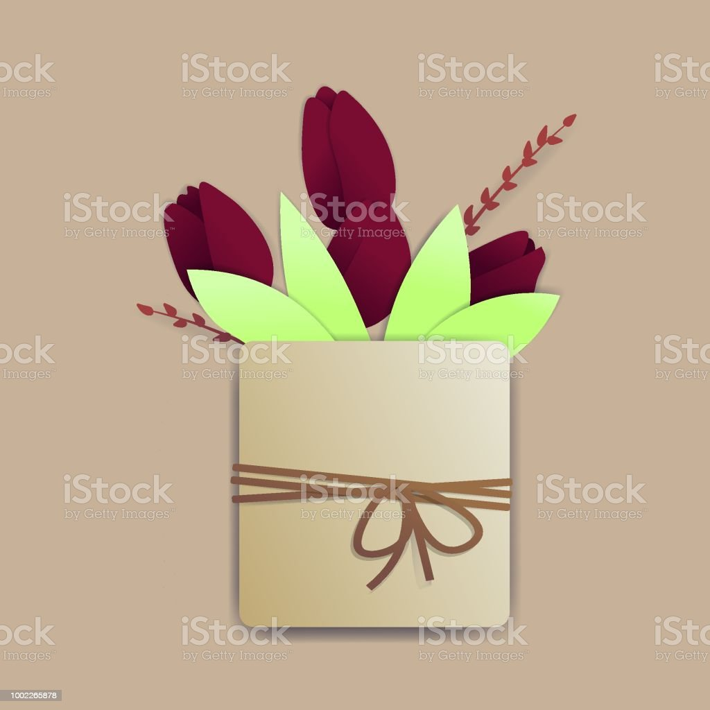 Bright red tulips in a square pot with a rope and a tiny bow. There are springs and leaves also. векторная иллюстрация