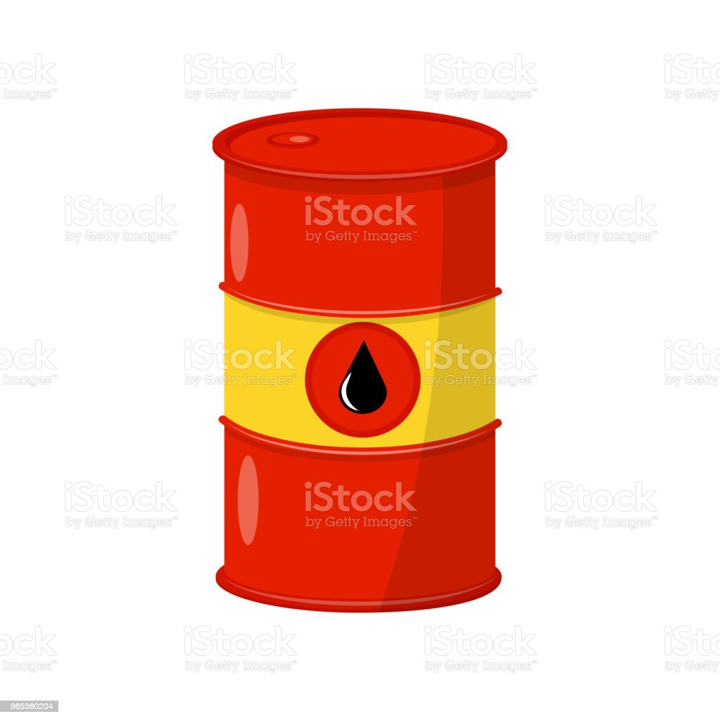 Bright red-yellow barrel with crude oil. Metal container with black drop. Flat vector element for banner or infographic poster bright redyellow barrel with crude oil metal container with black drop flat vector element for banner or infographic poster - stockowe grafiki wektorowe i więcej obrazów bez ludzi royalty-free