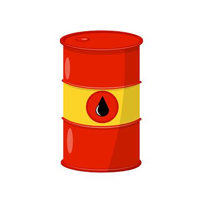 원유와 밝은 빨간색노란색 배럴 블랙 드롭 금속 컨테이너입니다 Infographic 배너 또는 포스터에 대 한 평면 벡터 요소 0명에 대한 스톡 벡터 아트 및 기타 이미지