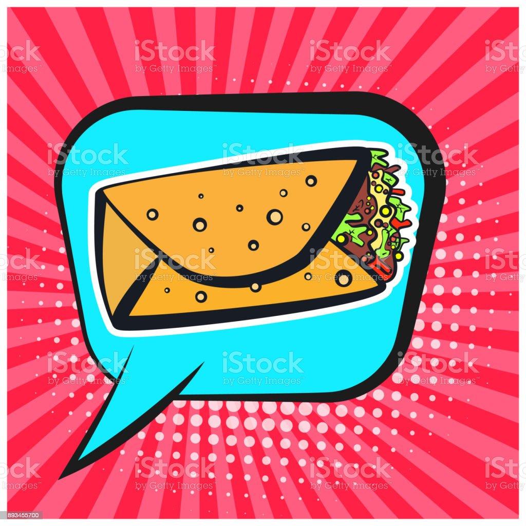 Bright retro comic speech bubble with burrito symbol vector art illustration