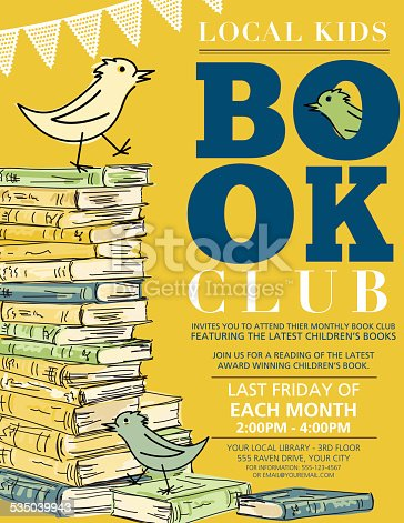 Bright Retro Style Children's Book Club vertical Invitation Poster.  There is a stack of hand drawn sketchy style books with a cartoon bird on top on the left hand side with the text on the right.  Invitation is on a yellow background. There is a bird and books at bottom.