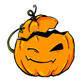 A bright rich vector pumpkin winks and takes off its hat as a greeting. Cute cartoon orange pumpkin. Charming pumpkin with small hands-sprouts