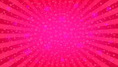 Bright pink rays background, lot of hearts. Widescreen romantic wallpaper. Valentine's Day or wedding backdrop template. Comics, pop art style.