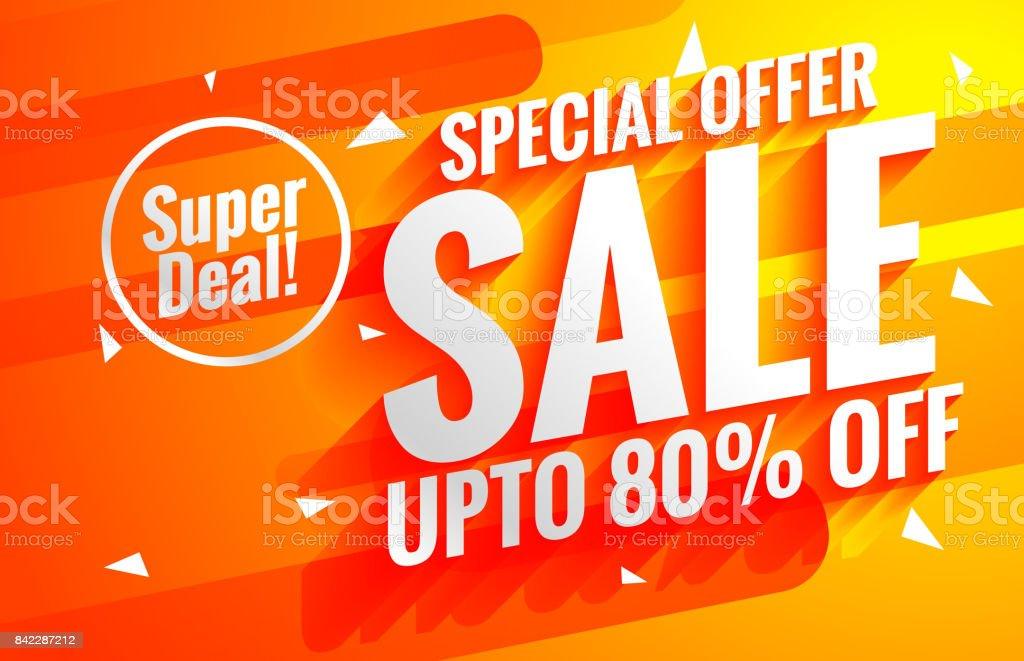 bright sale background poster in orange color vector art illustration