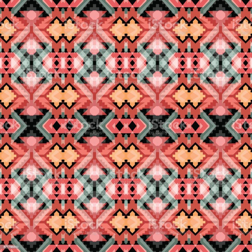 Bright seamless geometric pattern with tribal motifs. vector art illustration