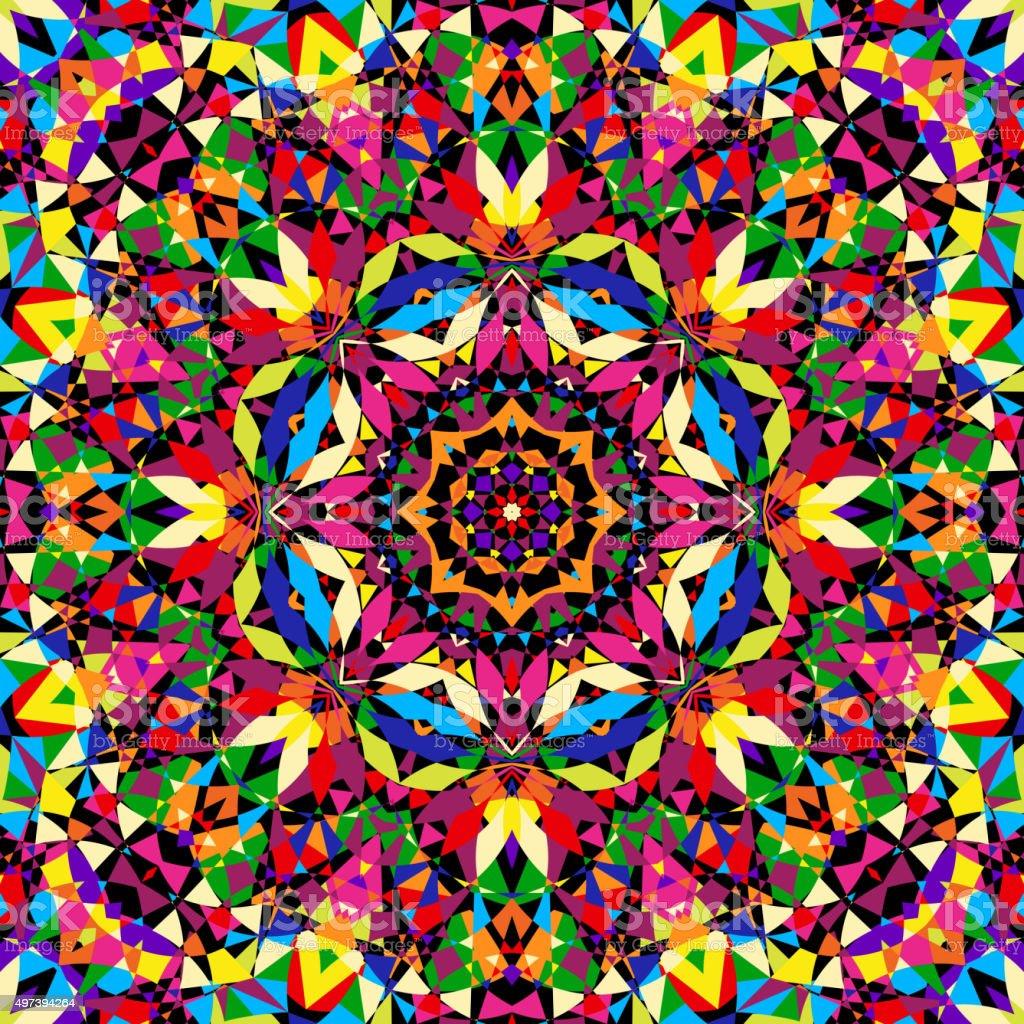 bright seamless kaleidoscope pattern vector art illustration
