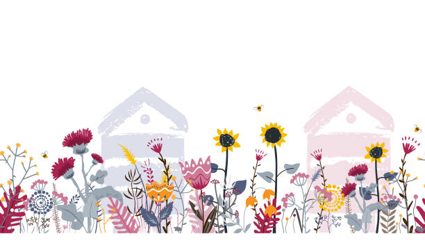 illustrazioni stock, clip art, cartoni animati e icone di tendenza di bright seamless meadow border with beehives, bees, and flowers. vector. apiary concept. - impollinazione