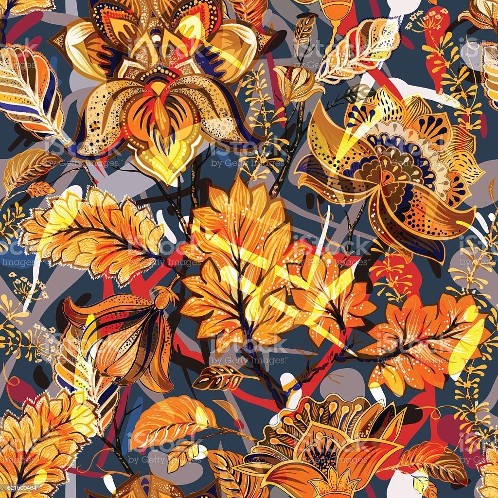 Bright seamless pattern. Floral backdrop Lizenzfreies bright seamless pattern floral backdrop stock vektor art und mehr bilder von abstrakt
