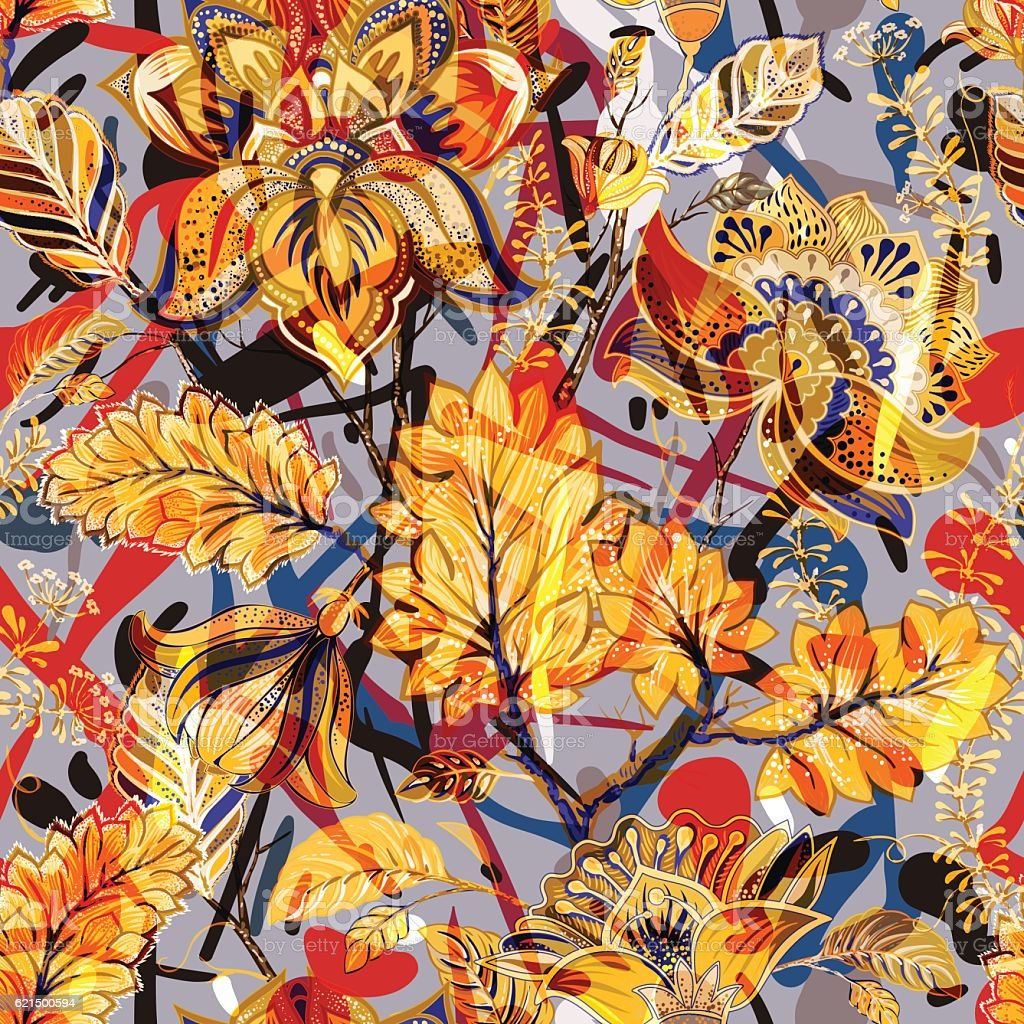 Bright seamless pattern. Floral backdrop bright seamless pattern floral backdrop – cliparts vectoriels et plus d'images de abstrait libre de droits