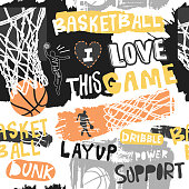 Seamless pattern for basketball. Print design for T-shirts, grunge style.