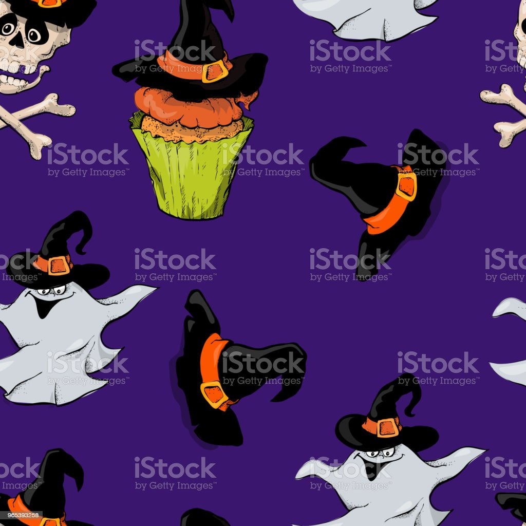 A bright seamless pattern for Halloween with a picture of capkakes, hats and skulls. royalty-free a bright seamless pattern for halloween with a picture of capkakes hats and skulls stock vector art & more images of art