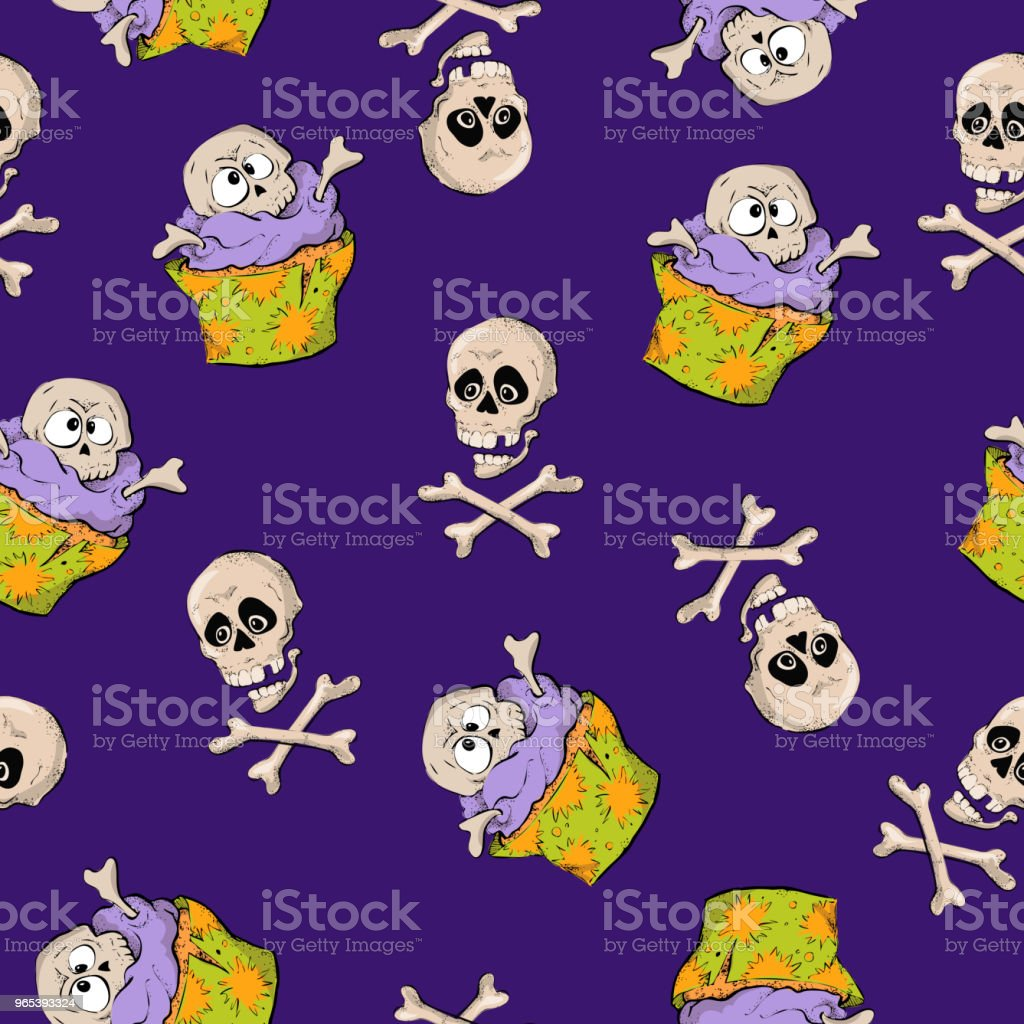A bright seamless pattern for Halloween with a picture of capkakes, hats and skulls. a bright seamless pattern for halloween with a picture of capkakes hats and skulls - stockowe grafiki wektorowe i więcej obrazów czaszka royalty-free