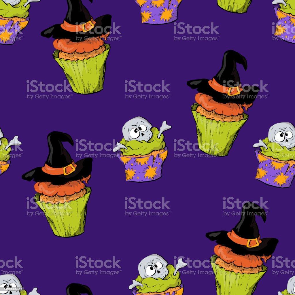 Ein helles nahtlose Muster für Halloween mit einem Bild von Capkakes, Hüte und Schädel. - Lizenzfrei Angst Vektorgrafik