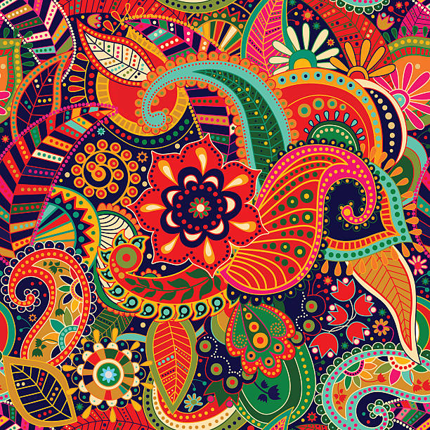 bright seamless pattern in paisley style - hippie fashion stock illustrations, clip art, cartoons, & icons