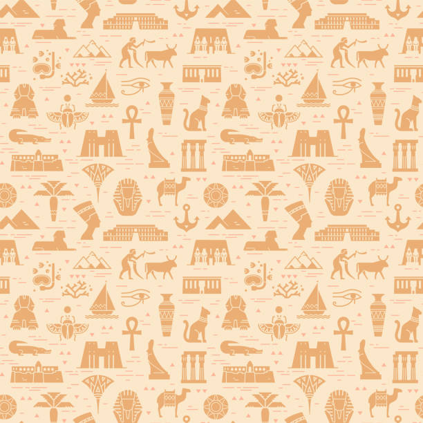 Bright seamless pattern of symbols, landmarks, and signs of Egypt from icons Bright seamless pattern of symbols, landmarks, and signs of Egypt from icons in a flat style. egypt stock illustrations