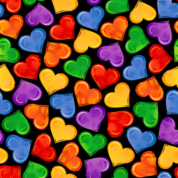 Bright seamless pattern with colorful hearts on black background. LGBT pride symbols. vector art illustration