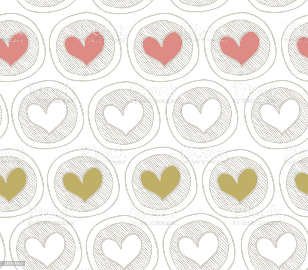 Bright seamless pattern with hearts in circles royalty-free stock vector art