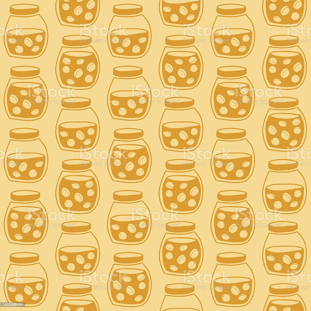 Bright seamless pattern with the apricot jam jars royalty-free stock vector art