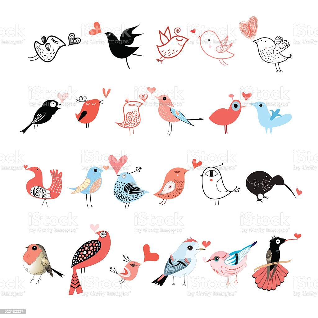 Bright set of birds vector art illustration