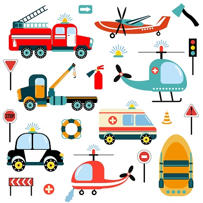 Bright set of hand-drawn cars - rescuers. Illustration for children. Flat style. White background, isolate. Vector illustration.