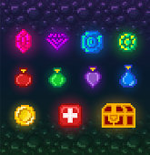 A bright set of pixel art elements for the game