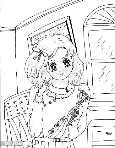 istock Bright Short Haired Young Girl Anime Manga Style Children's Coloring Page Illustration 2021 1330437382