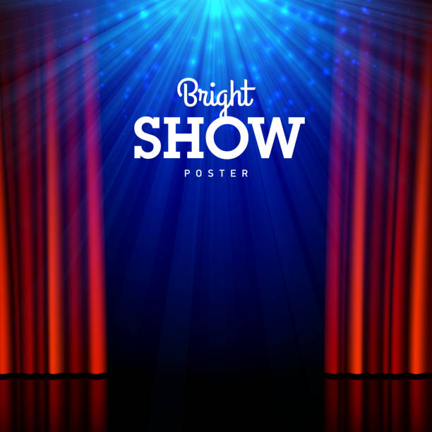 Bright show poster design template Bright show poster design template. Stage, spotlights and open curtains. Vector illustration with transparent effect, eps10. premiere event stock illustrations