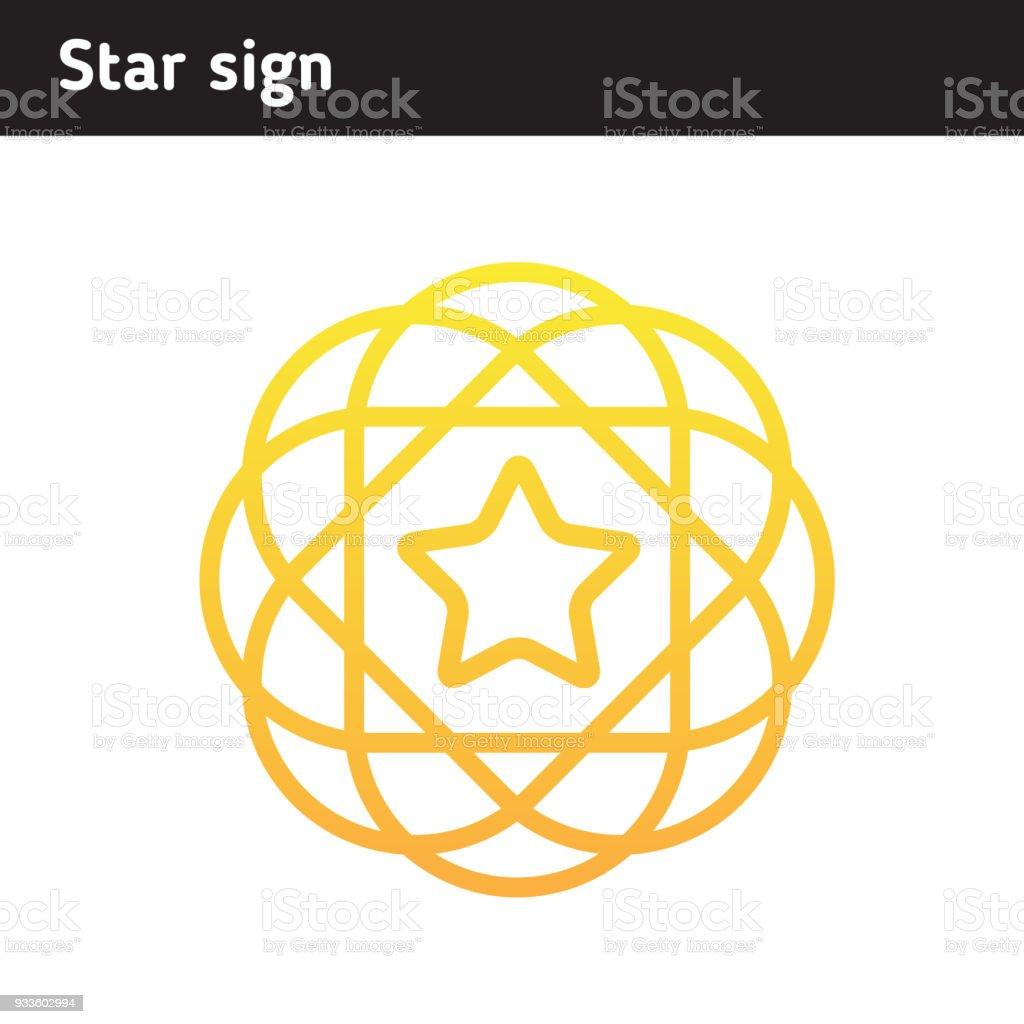 Bright Unterzeichnen Von Den Linien Sterne Im Rahmen Stock Vektor ...