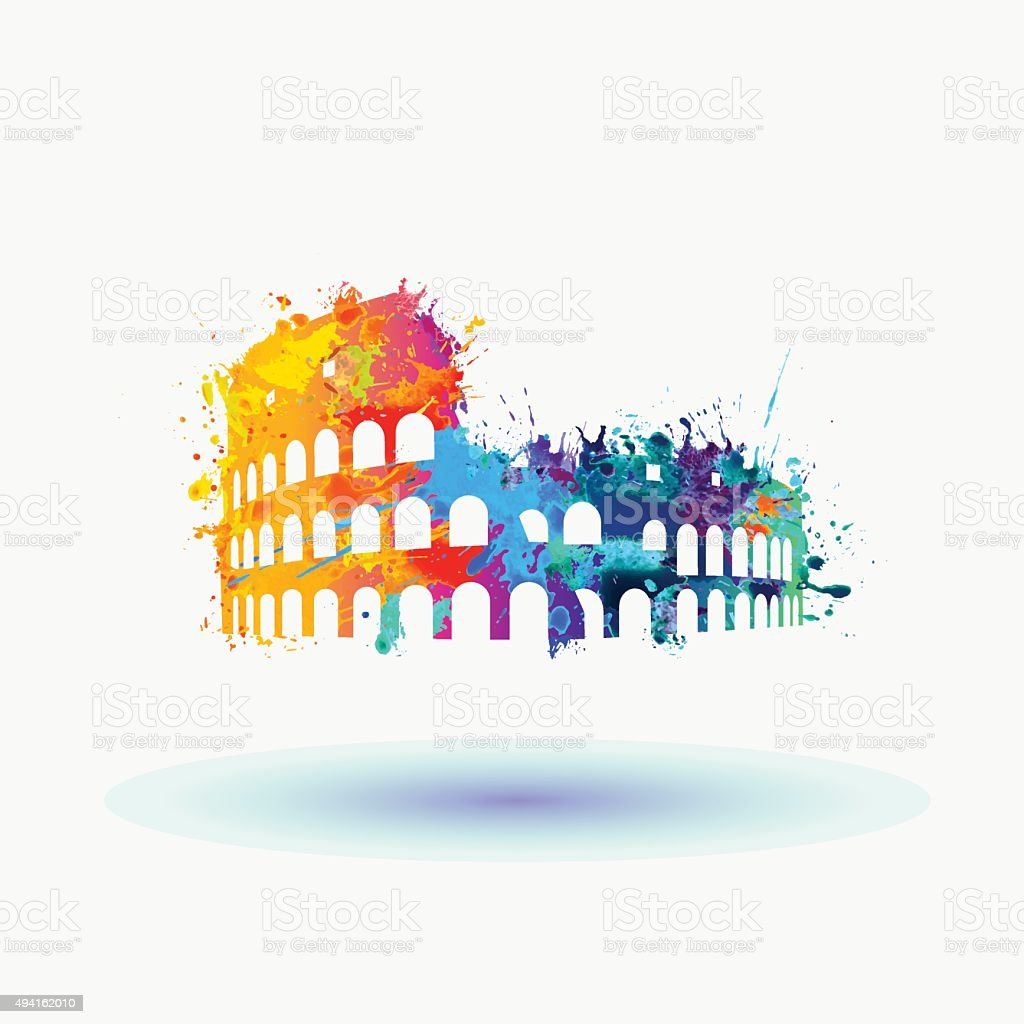 Bright Silhouette of Coliseum icon vector art illustration