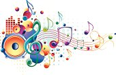 bright multi-colored music design, vector artwork