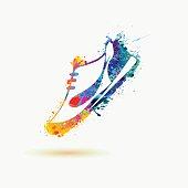 Sport shoe - sneakers. Rainbow paint