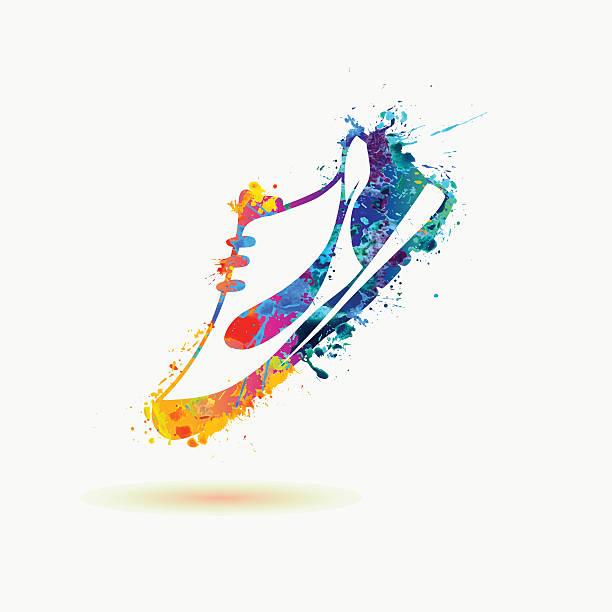 ilustrações, clipart, desenhos animados e ícones de brilhante esporte calçado de tênis. arco-íris de pintura - tênis