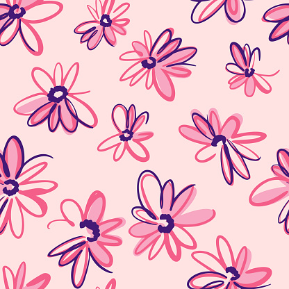 Bright spring nature background. Ditsy seamless pattern made of artistic meadow daisy flowers. Petals and buds. Felt tip pen. Outline flat sketch drawing.