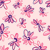 istock Bright spring nature background. Ditsy seamless pattern made of artistic meadow daisy flowers. Petals and buds. Felt tip pen. Outline flat sketch drawing. 1249870904