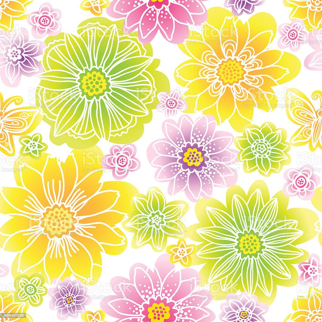 Bright spring seamless pattern with flowers. royalty-free stock vector art