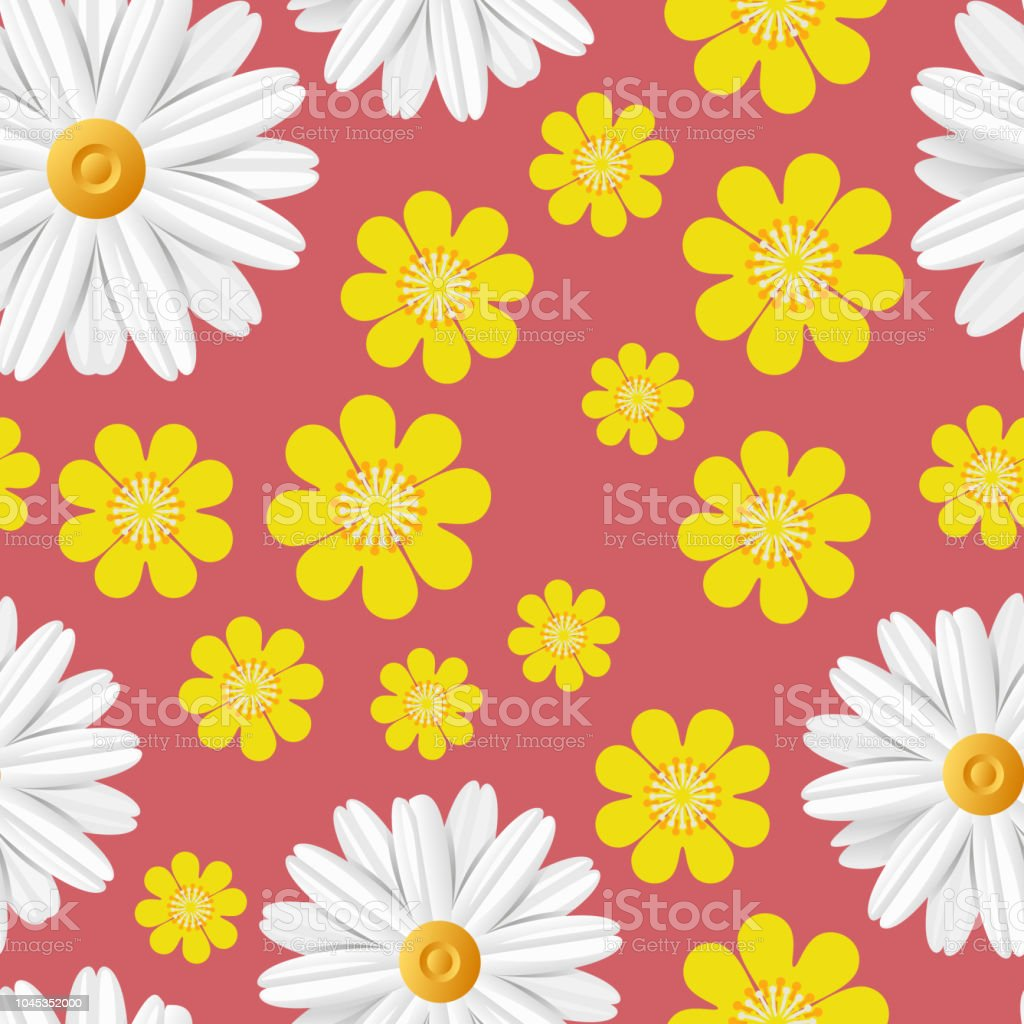 Bright Spring Seamless Pattern With Light Flowers White Camomile And