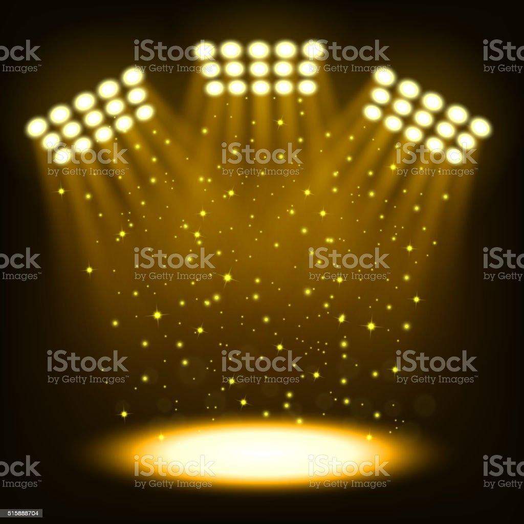 Bright stadium spotlights on dark gold background vector art illustration