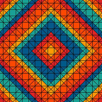 Bright stained glass mosaic background. Seamless pattern with kaleidoscope geometric print. Mexican thread craft motif